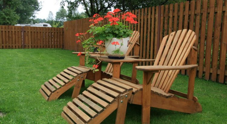 wood furniture on lawn