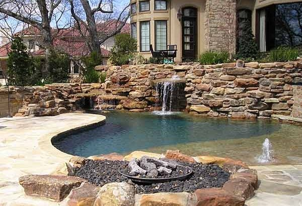 stone landscaping water feature